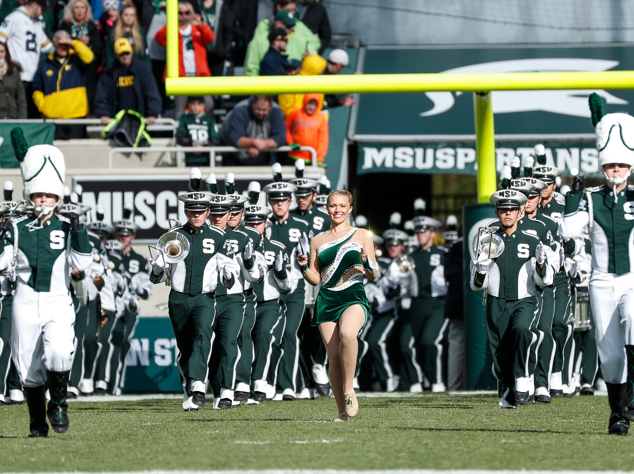 The Michigan State Marching Band enters the field before the Michigan game at Spartan Stadium on Saturday, Oct. 20, 2018.