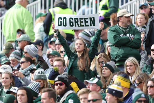 Michigan State fans, Go Green, Michigan State sign