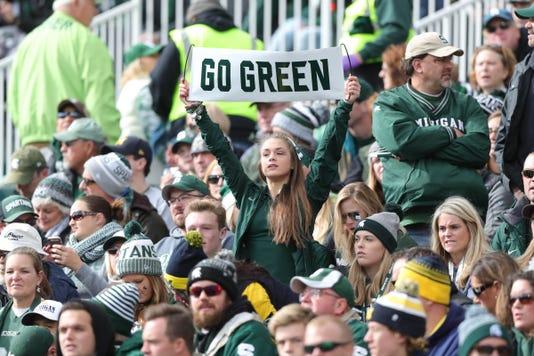 Michigan State fans, Go Green, Michigan State sign