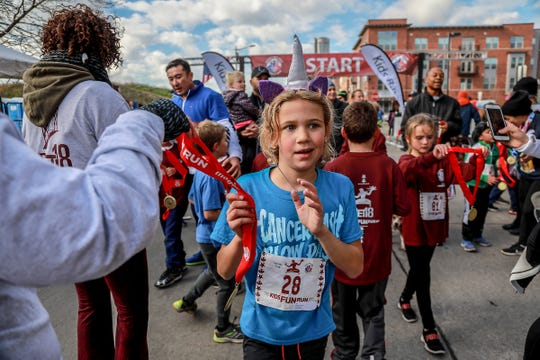 Kids complete the Meijer Kids Fun Run along the RiverWalk during the 41st Annual Detroit Free Press/Chemical Bank Marathon weekend at the Detroit RiverWalk in Detroit on Saturday, Oct. 20, 2018.