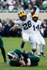 Michigan defensive back Brandon Watson jumps to avoid Michigan State quarterback Brian Lewerke during the second half at Spartan Stadium, Oct. 20.