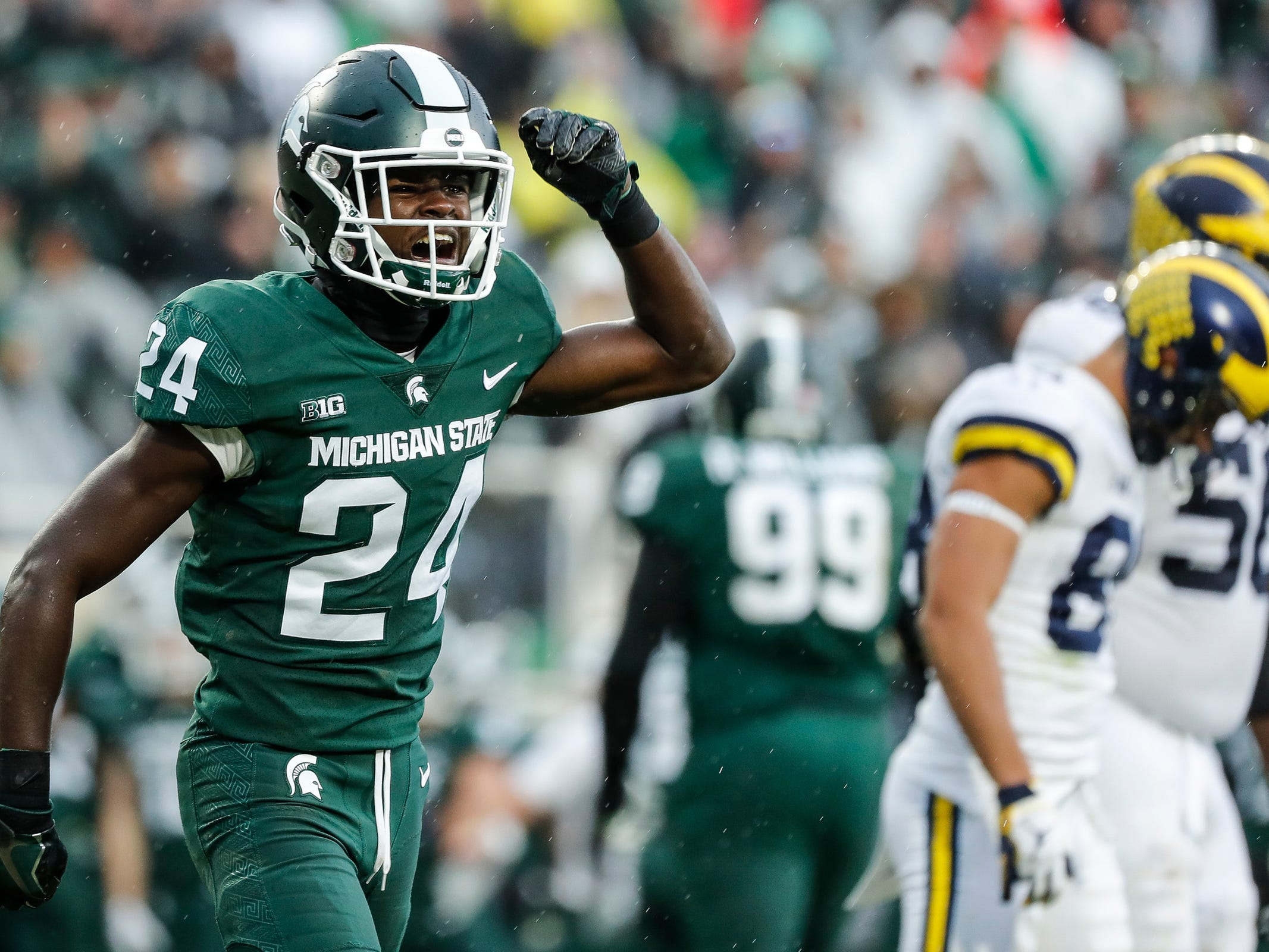 Michigan State cornerback Tre Person celebrates a play against Michigan  during the second half at Spartan Stadium in East Lansing, Saturday, Oct. 20, 2018.