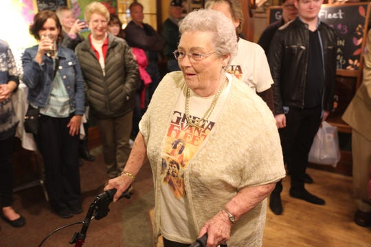 "Gretna Van Fleet, a resident of Frankenmuth, Mich., attends an album-release party for rock band Greta Van Fleet's ""Anthem of the Peaceful Army"" in Frankenmuth, Mich., on Oct. 19, 2018."