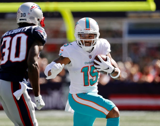 Dolphins receiver Albert Wilson (15) leads the NFL in yards after catch this season.