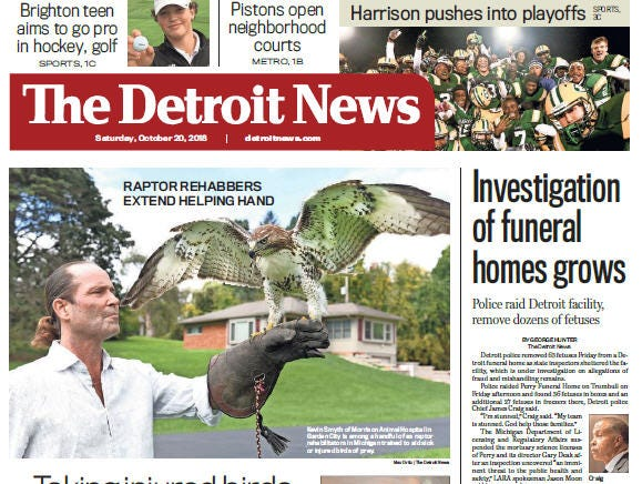 Front page of The Detroit News on Saturday, October 20, 2018.