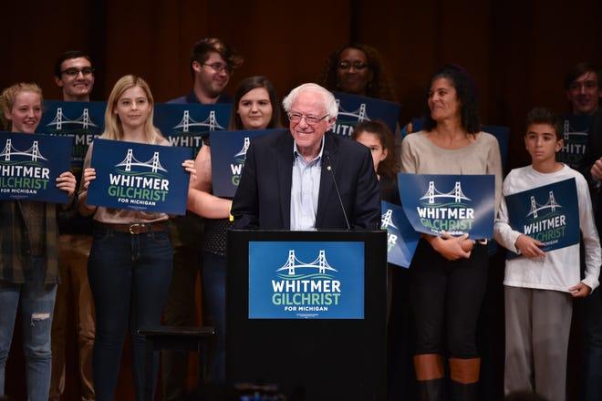 U.S. Sen. Bernie Sanders of Vermont stumps for Michigan gubernatorial candidate Gretchen Whitmer in Ann Arbor.
