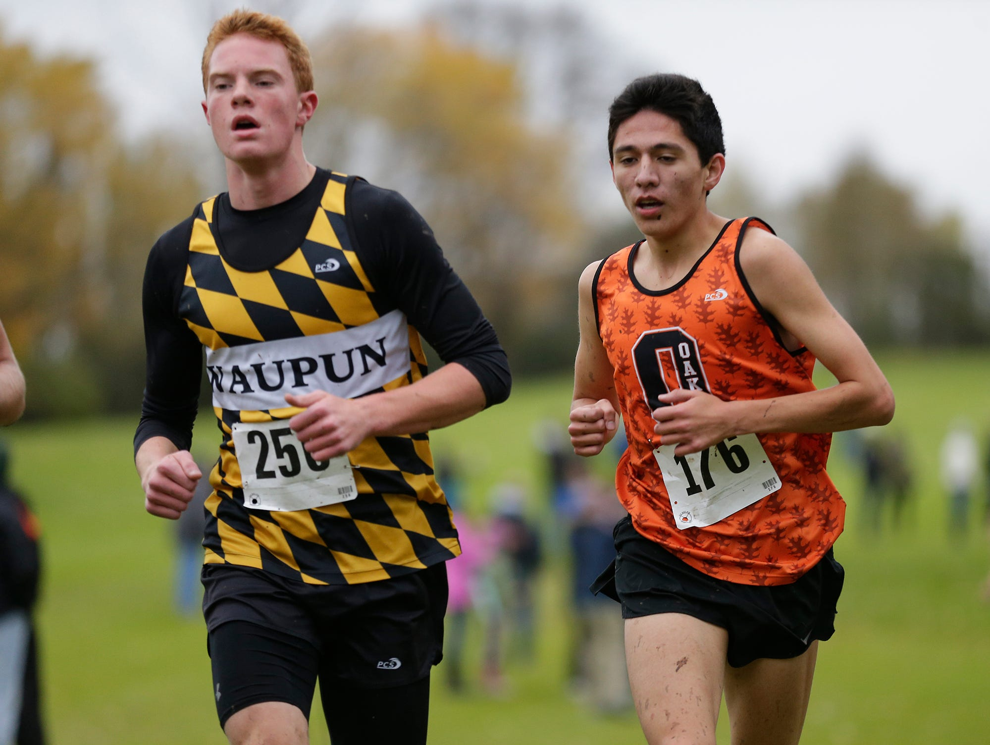 Waupun High School's Rhyer Smit and North Fond du Lac's Diego Charbonneau run in the WIAA Division two Mayville sectional cross country meet at the Mayville golf course Friday, October 19, 2018. Doug Raflik/USA TODAY NETWORK-Wisconsin
