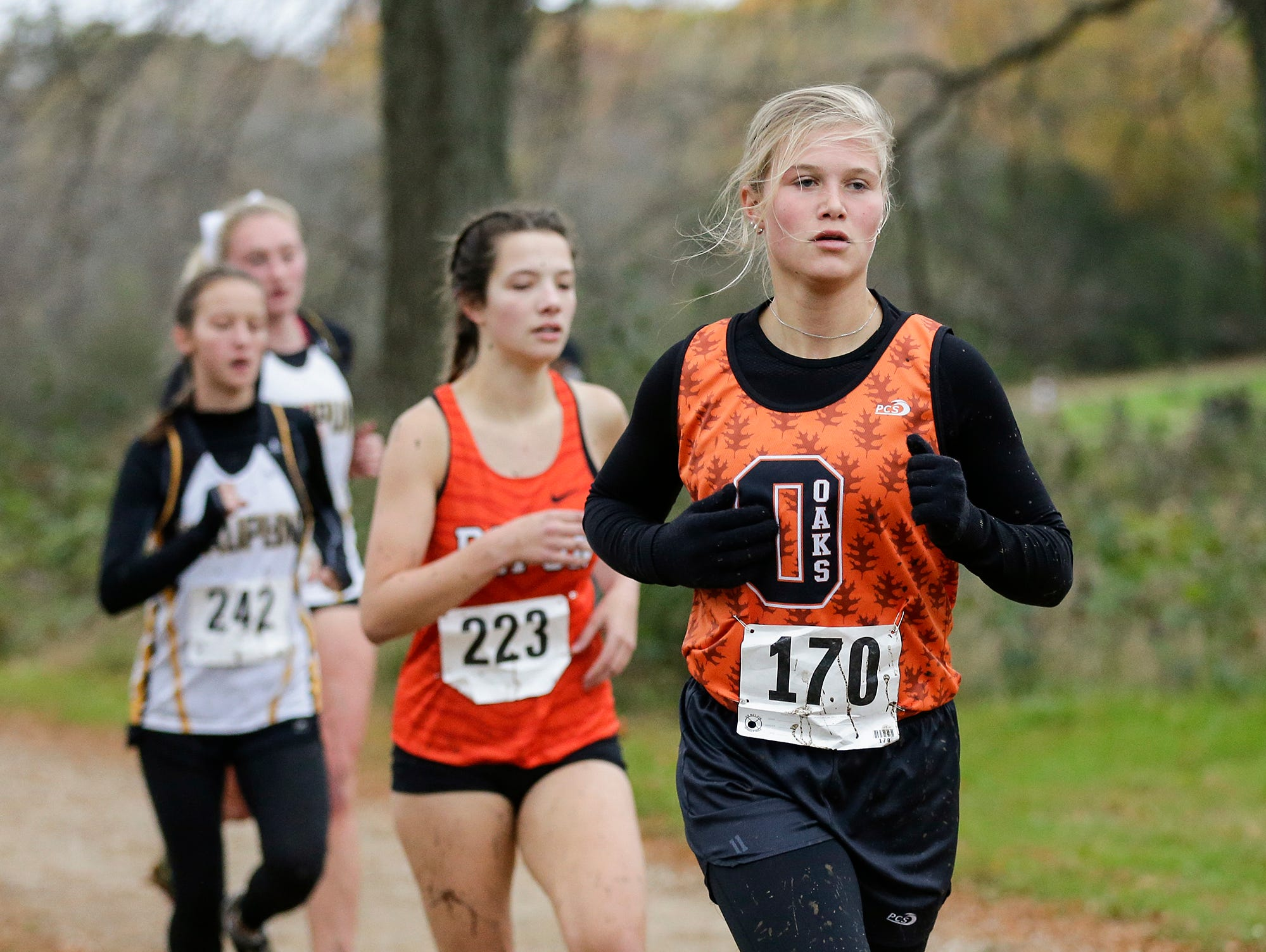 North Fond du Lac High School's Marie-Julie Huber runs in the WIAA Division two Mayville sectional cross country meet at the Mayville golf course Friday, October 19, 2018. Doug Raflik/USA TODAY NETWORK-Wisconsin