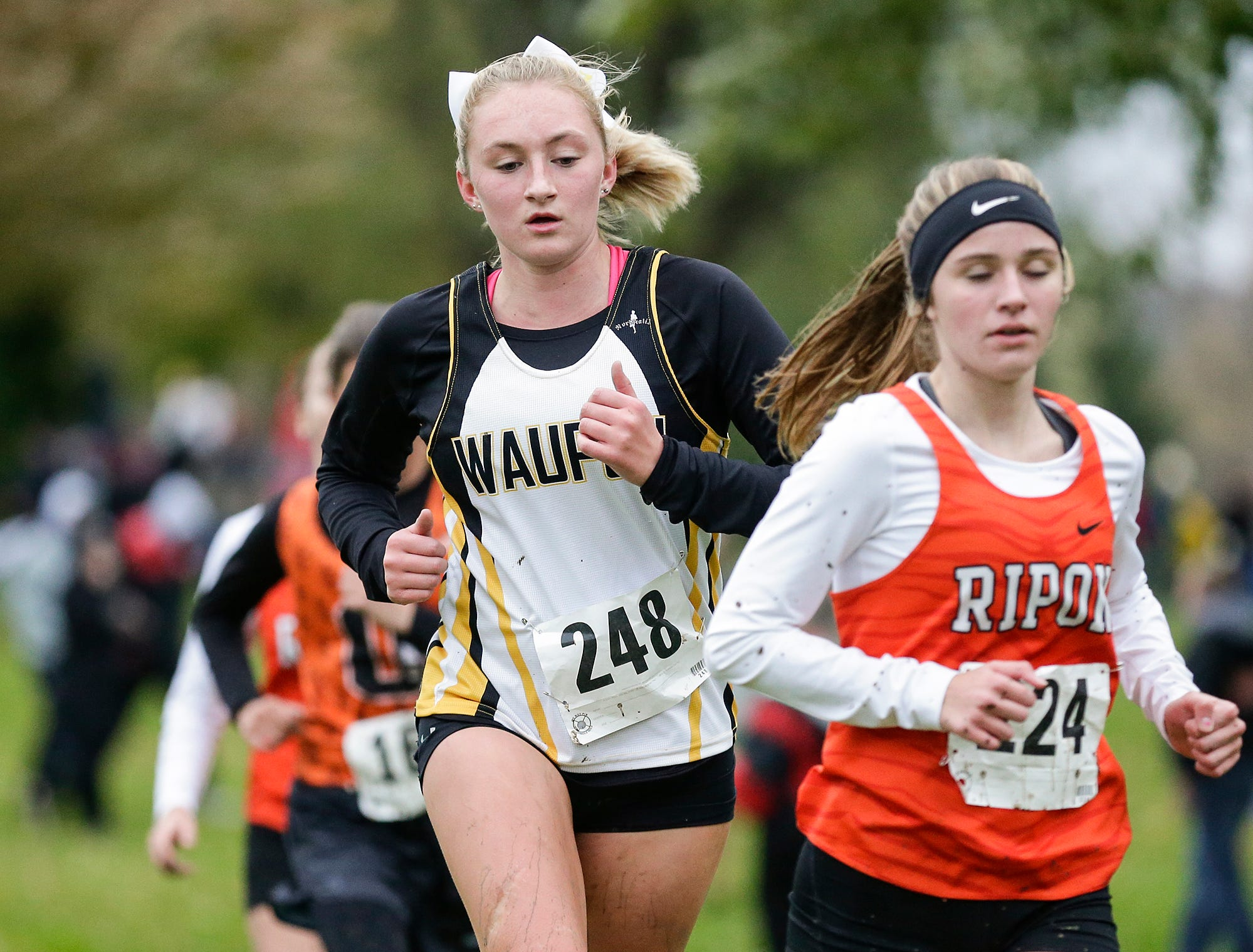 Waupun High School's Sarah Miller runs in the WIAA Division two Mayville sectional cross country meet at the Mayville golf course Friday, October 19, 2018. Doug Raflik/USA TODAY NETWORK-Wisconsin