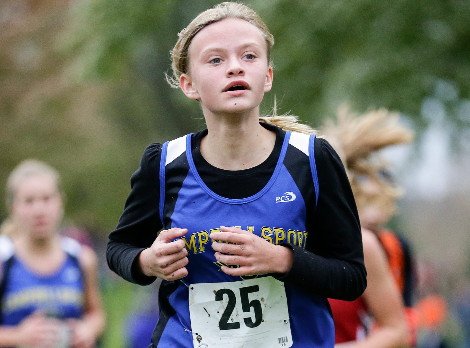 Campbellsport High School's Macy Pawlowski runs in the WIAA Division two Mayville sectional cross country meet at the Mayville golf course Friday, October 19, 2018. Doug Raflik/USA TODAY NETWORK-Wisconsin