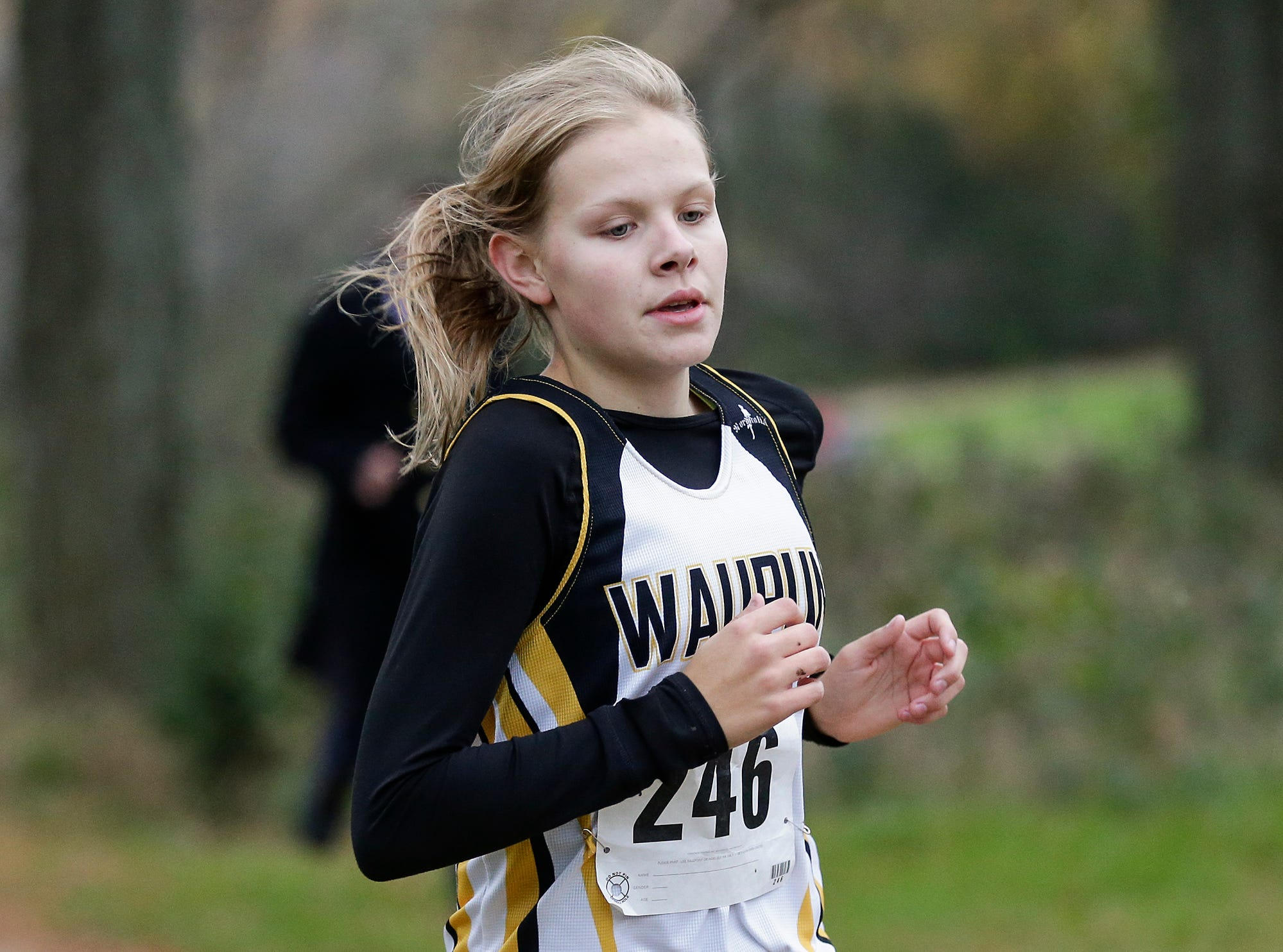 Waupun High School's Emily Manske runs in the WIAA Division two Mayville sectional cross country meet at the Mayville golf course Friday, October 19, 2018. Doug Raflik/USA TODAY NETWORK-Wisconsin
