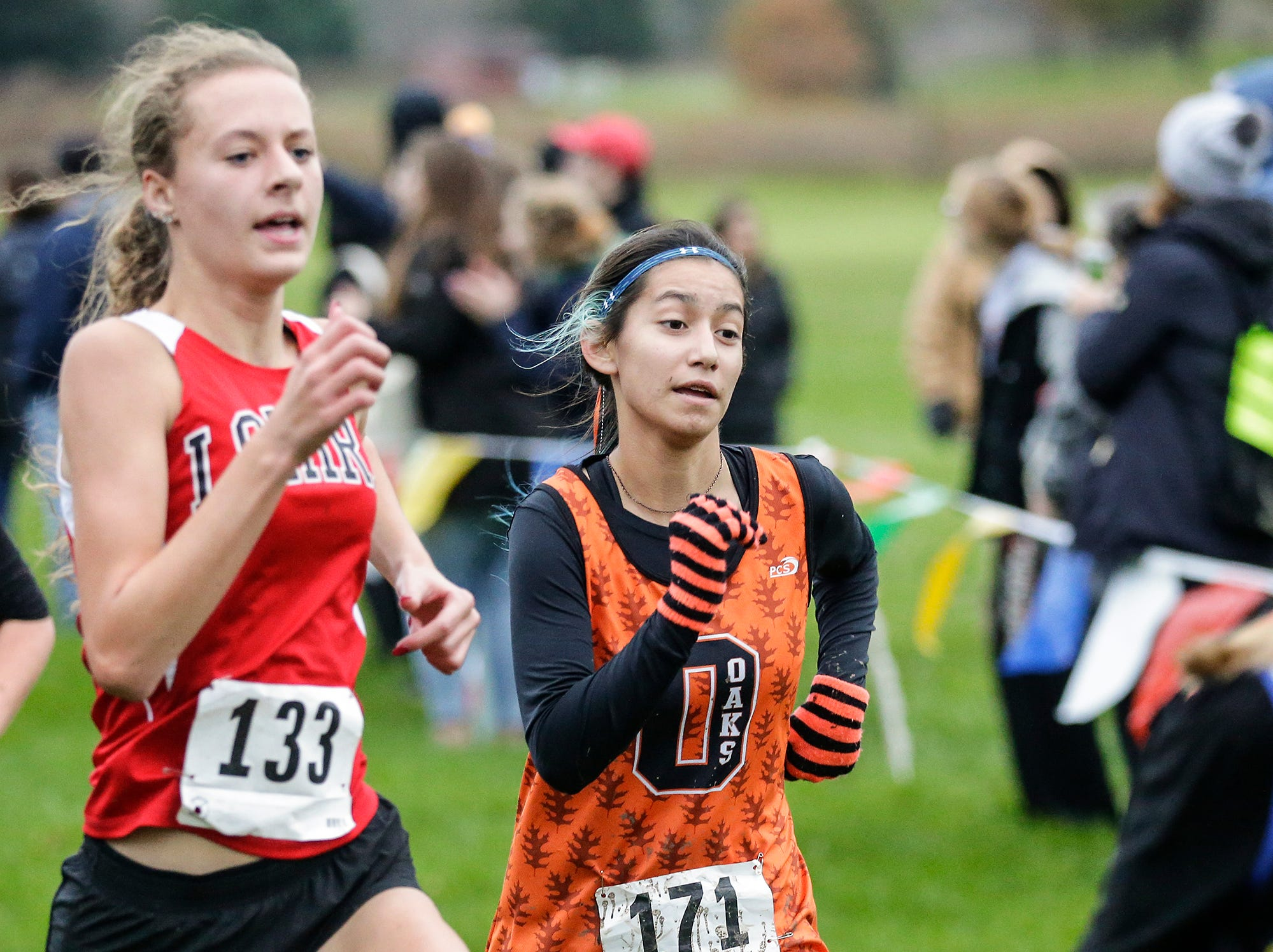North Fond du Lac High School's Emma Maravilla runs in the WIAA Division two Mayville sectional cross country meet at the Mayville golf course Friday, October 19, 2018. Doug Raflik/USA TODAY NETWORK-Wisconsin