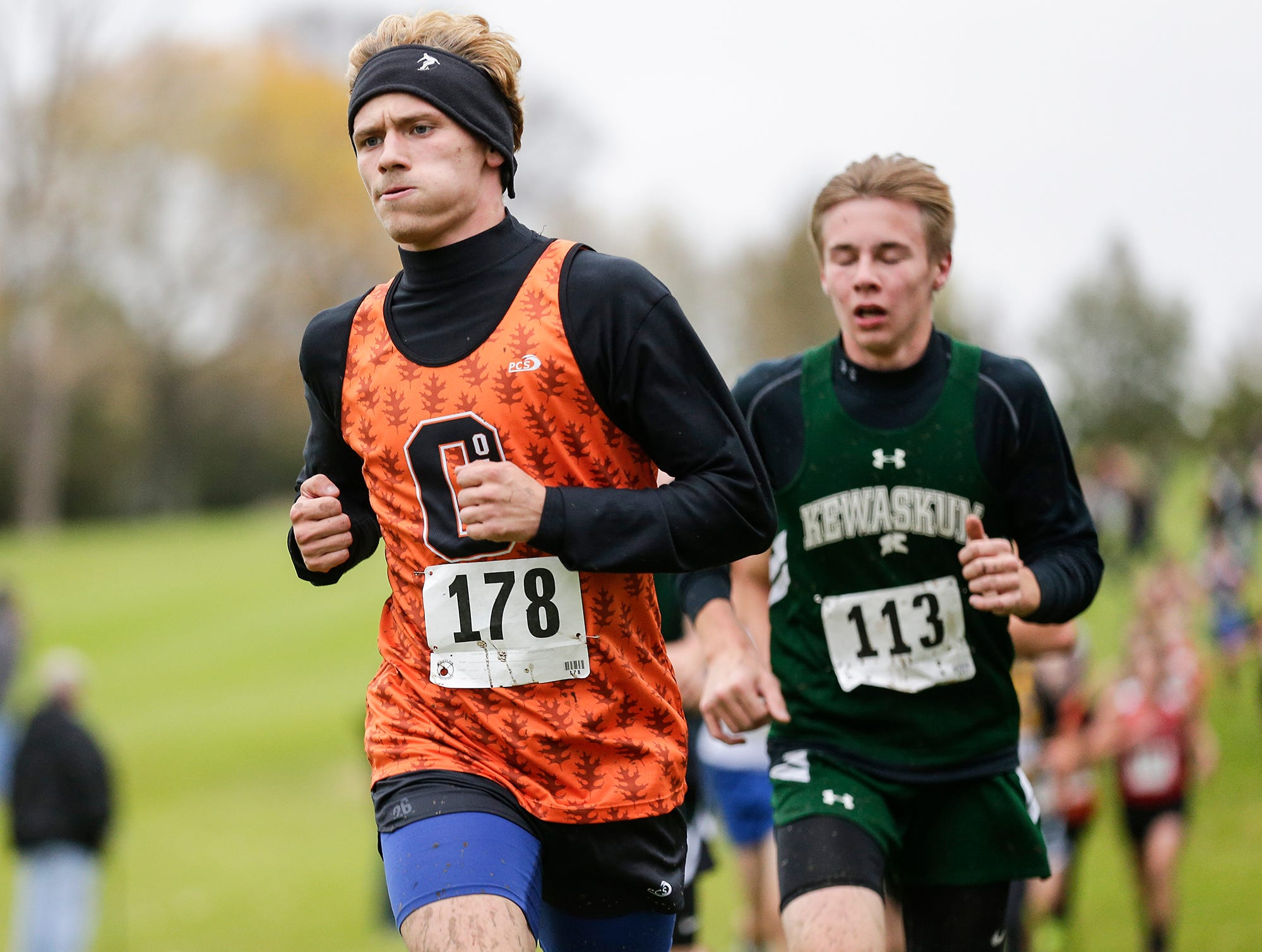 North Fond du Lac High School's Dalton Fritch runs in the WIAA Division two Mayville sectional cross country meet at the Mayville golf course Friday, October 19, 2018. Doug Raflik/USA TODAY NETWORK-Wisconsin