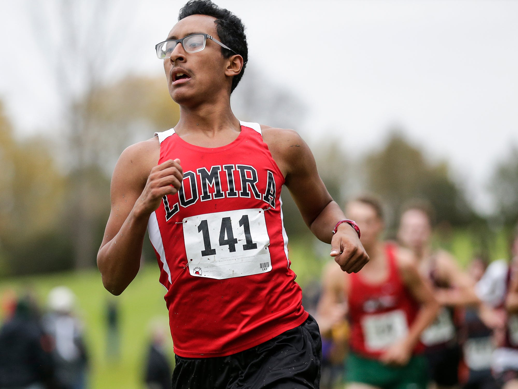 Lomira High School's Steven Aguirre runs in the WIAA Division two Mayville sectional cross country meet at the Mayville golf course Friday, October 19, 2018. Doug Raflik/USA TODAY NETWORK-Wisconsin