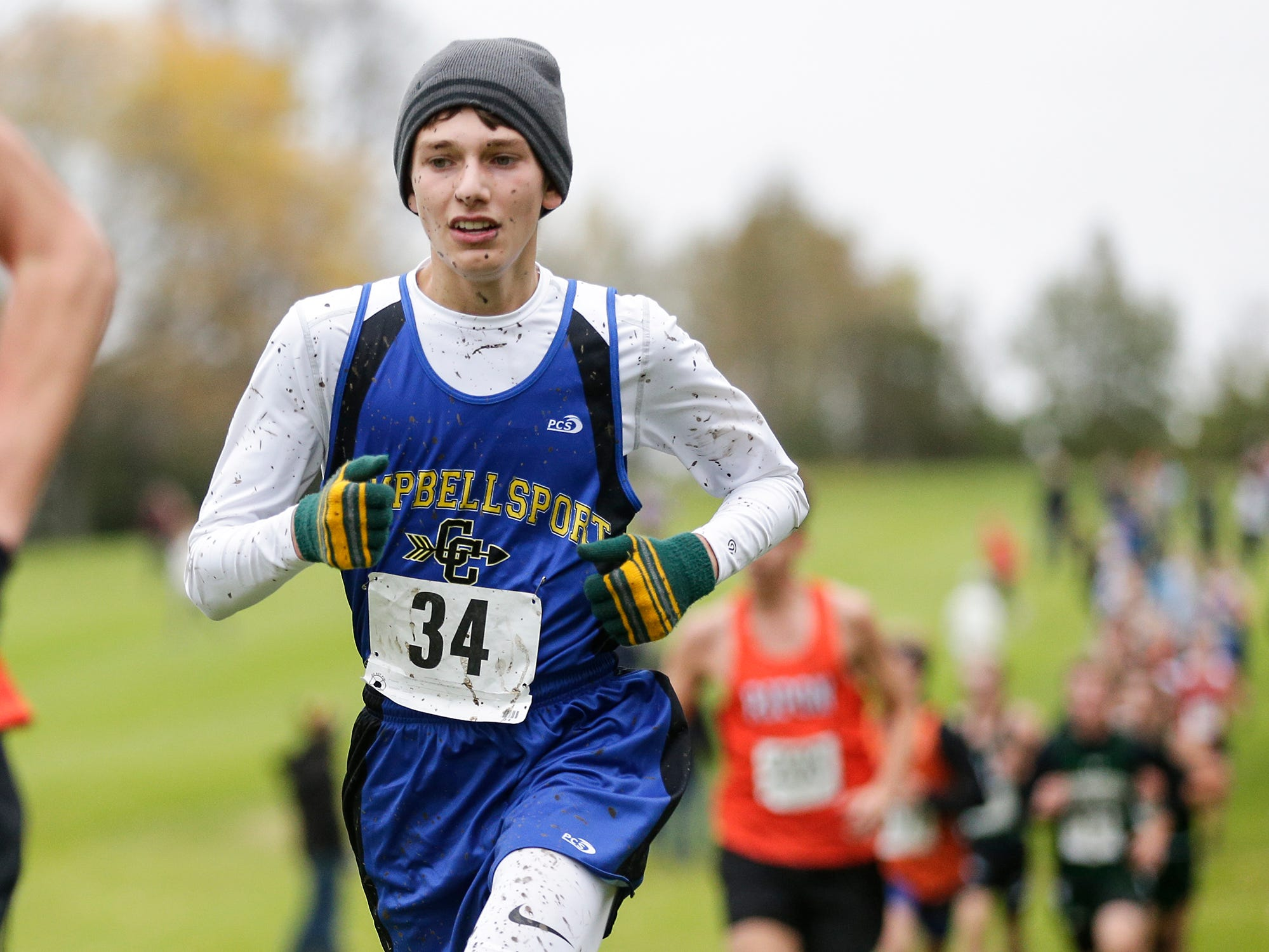 Campbellsport High School's Joe Krahn runs in the WIAA Division two Mayville sectional cross country meet at the Mayville golf course Friday, October 19, 2018. Doug Raflik/USA TODAY NETWORK-Wisconsin