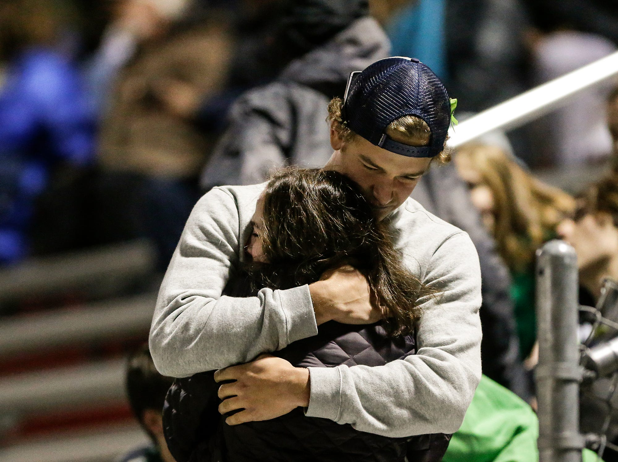 A grief-stricken mood was in place for St. Mary's Springs football's level one playoff game against Dominican High School Friday, October 19, 2018 in Lomira, Wisconsin as Springs fans and players mourned the death of Trent Schueffner. The varsity player was killed in a hunting accident earlier in the day. Springs went on to win the game 62-13. Doug Raflik/USA TODAY NETWORK-Wisconsin