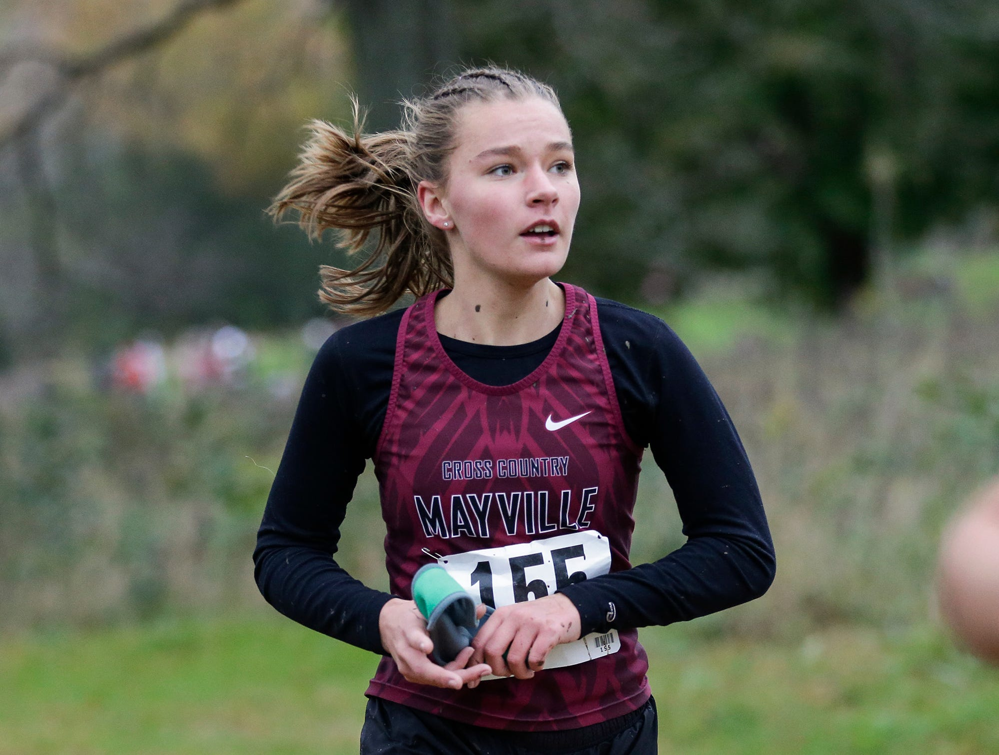 Mayville High School's Emily Karvala runs in the WIAA Division two Mayville sectional cross country meet at the Mayville golf course Friday, October 19, 2018. Doug Raflik/USA TODAY NETWORK-Wisconsin