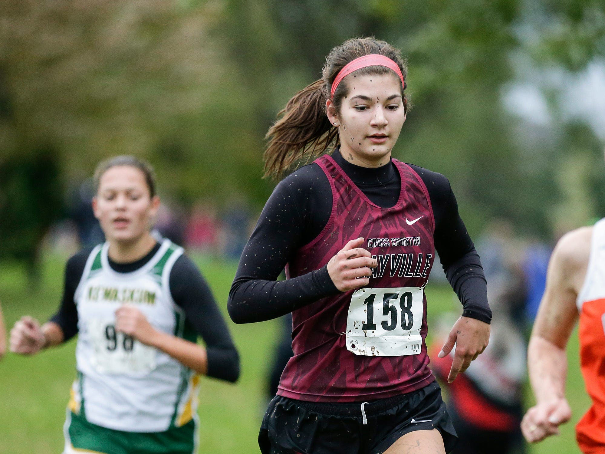 Mayville High School's Amber Schaufnagel runs in the WIAA Division two Mayville sectional cross country meet at the Mayville golf course Friday, October 19, 2018. Doug Raflik/USA TODAY NETWORK-Wisconsin