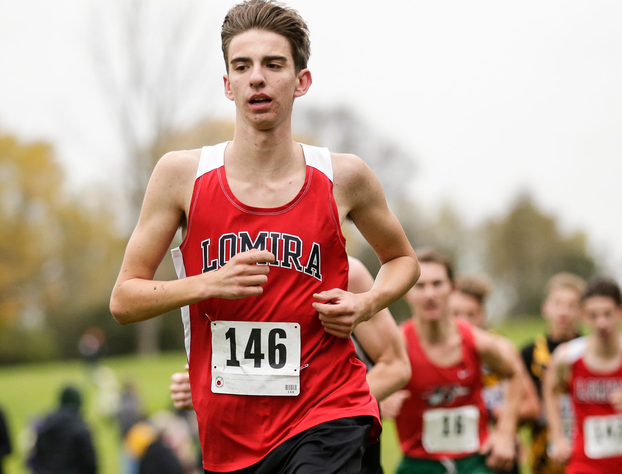 Lomira High School's Brendan Schraufnagel runs in the WIAA Division two Mayville sectional cross country meet at the Mayville golf course Friday, October 19, 2018. Doug Raflik/USA TODAY NETWORK-Wisconsin