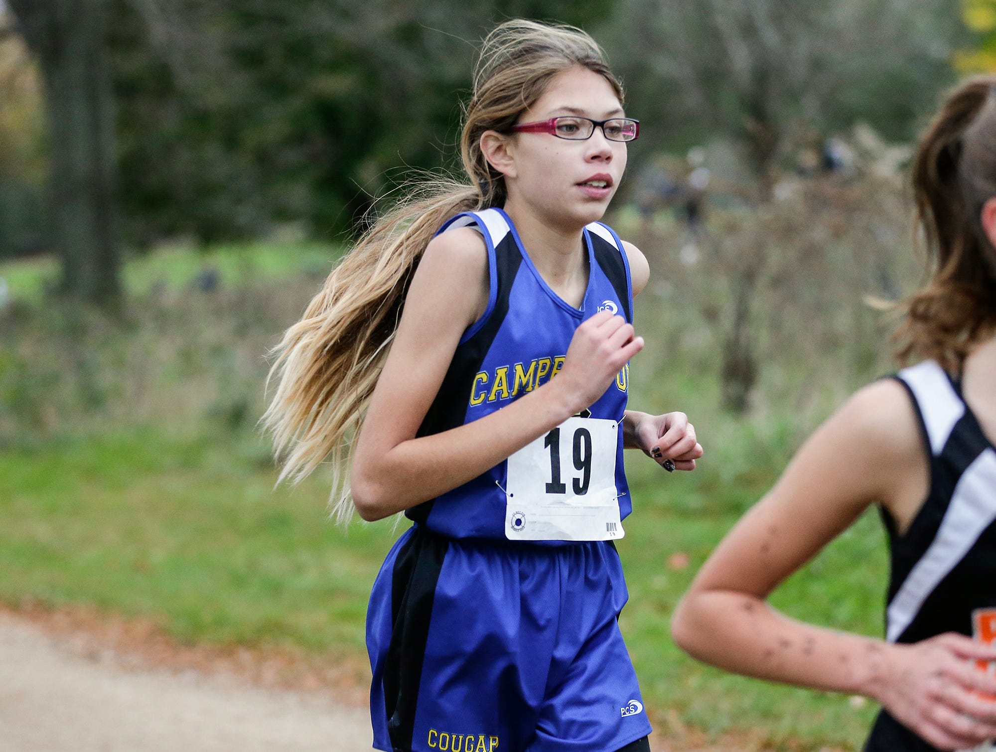 Campbellsport High School's Izzy Bente runs in the WIAA Division two Mayville sectional cross country meet at the Mayville golf course Friday, October 19, 2018. Doug Raflik/USA TODAY NETWORK-Wisconsin
