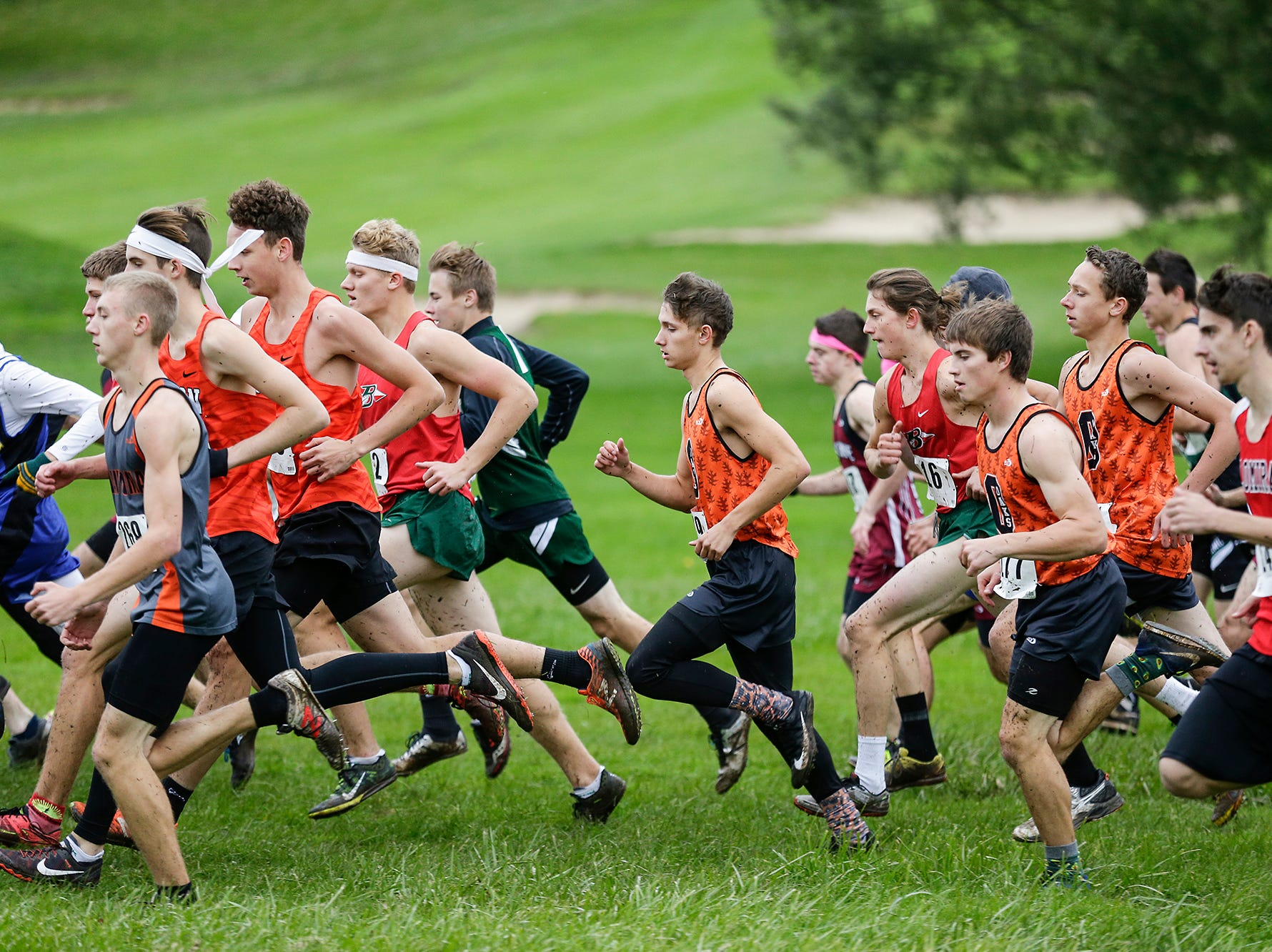 Runners from 15 area High Schools runs in the WIAA Division two Mayville sectional cross country meet at the Mayville golf course Friday, October 19, 2018. Doug Raflik/USA TODAY NETWORK-Wisconsin
