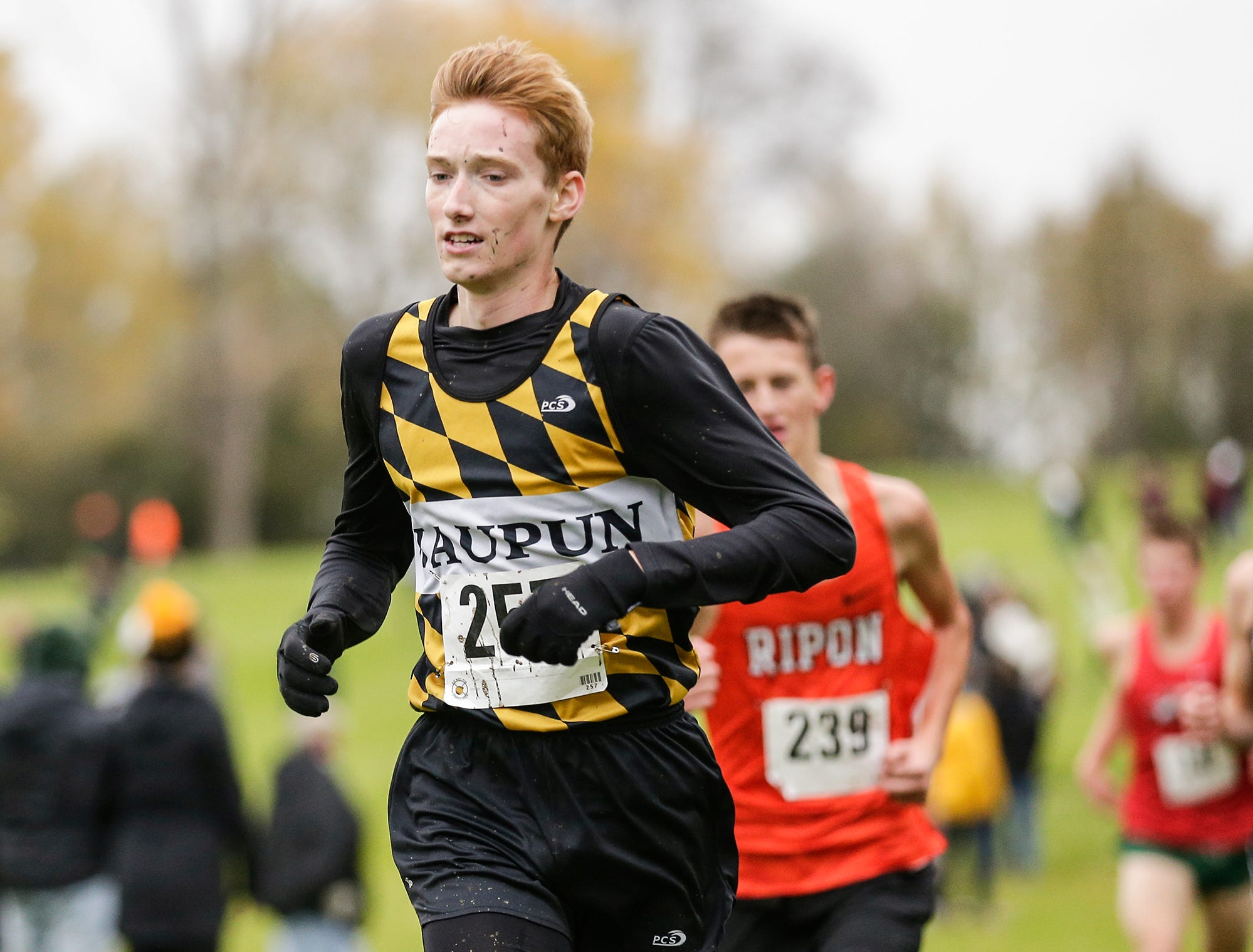 Waupun High School's Adam Vanderkin runs in the WIAA Division two Mayville sectional cross country meet at the Mayville golf course Friday, October 19, 2018. Doug Raflik/USA TODAY NETWORK-Wisconsin