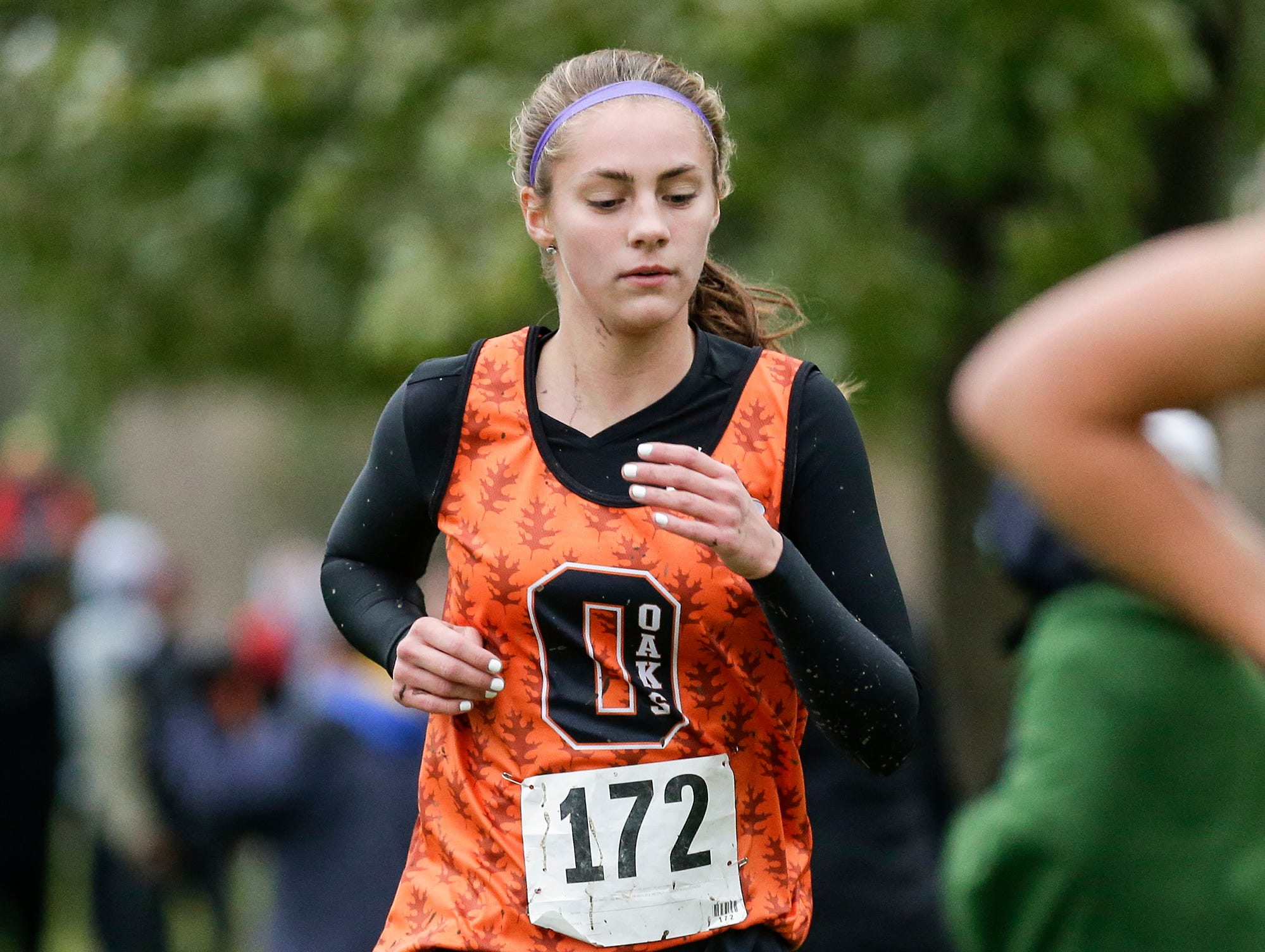 North Fond du Lac High School's Grace Maurer runs in the WIAA Division two Mayville sectional cross country meet at the Mayville golf course Friday, October 19, 2018. Doug Raflik/USA TODAY NETWORK-Wisconsin