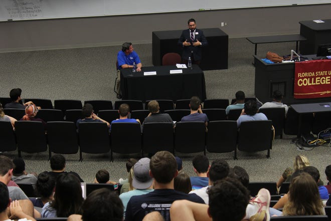 Tallahassee mayoral candidates, Dustin Daniels and  John Dailey, address students on campus at a nonpartisan mayoral forum hosted by the FSU College Democrats.