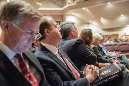 Colorado state Sen. Kevin Lundberg, U.S. Rep. Jared Polis and U.S. Sen. Cory Gardner attend a memorial service for former Larimer County Commissioner Lew Gaiter on Saturday, Oct. 20, 2018, at Timerline Church in Fort Collins.