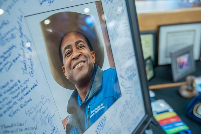 A portrait of former Larimer County Commissioner Lew Gaiter is displayed outside of an auditorium at Timerline Church in Fort Collins during a memorial service on Saturday, Oct. 20, 2018.