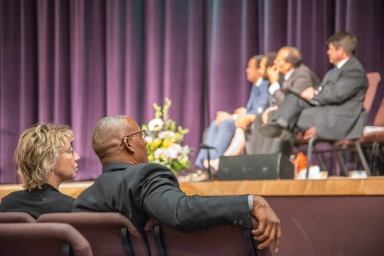 Family members of former Larimer County Commissioner Lew Gaiter listen to dignitaries speak at a memorial service for Gaiter at Timerbline Church in Fort Collins on Saturday, Oct. 20, 2018.