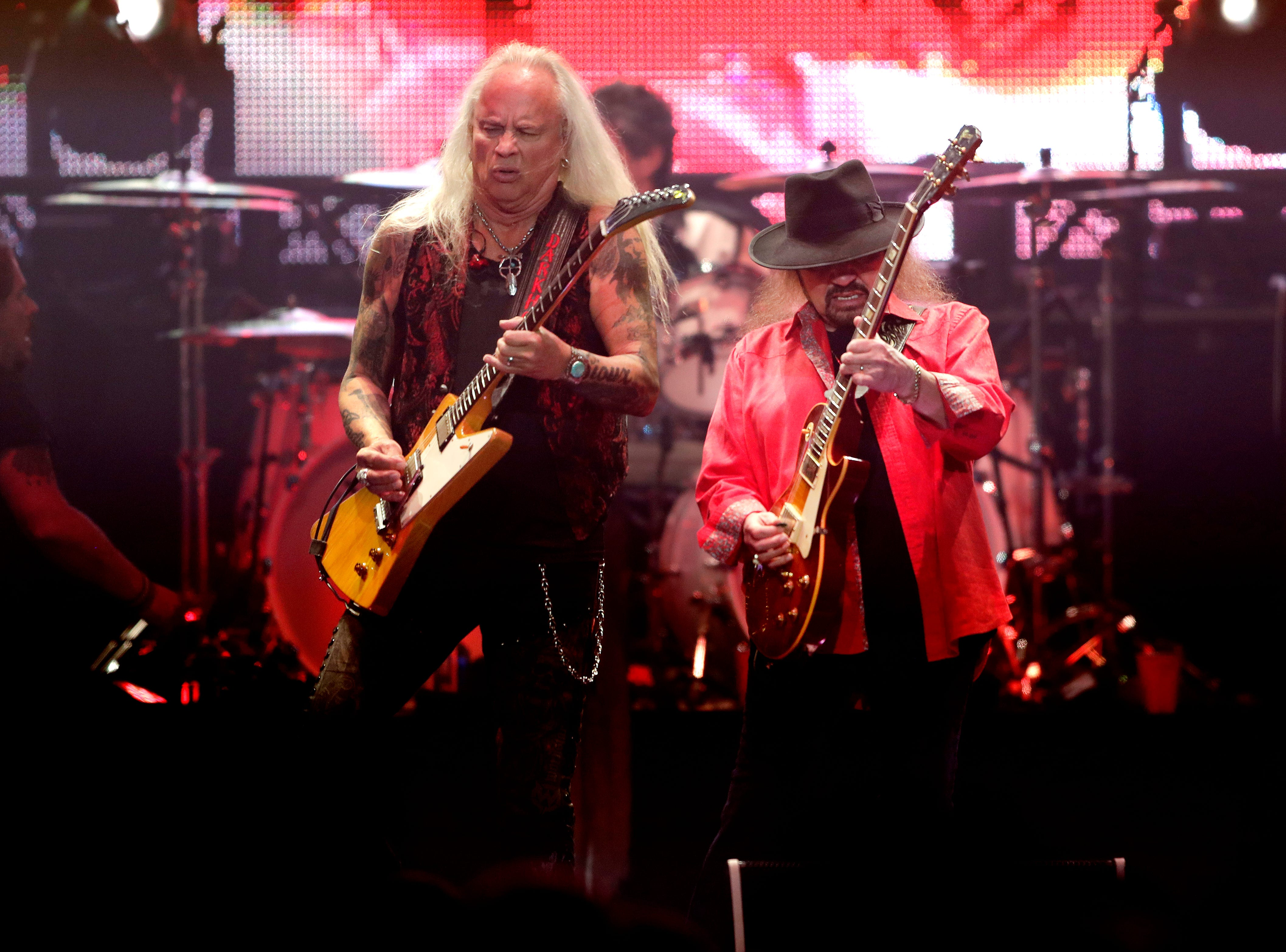 Rickey Medlocke, left, and Gary Rossington of Lynyrd Skynyrd perform Friday at the Resch Center for the band's Last of the Street Survivors Farewell Tour.