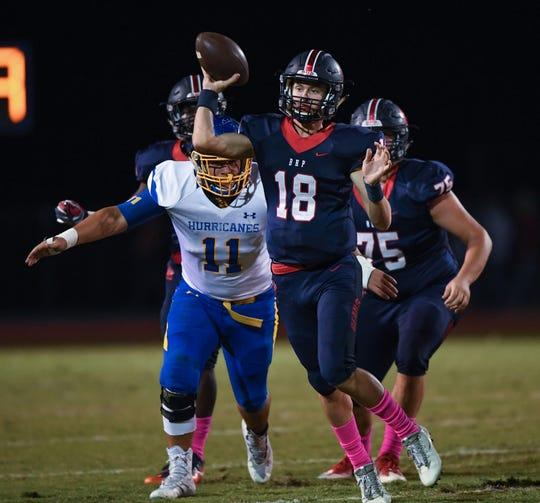 Belton Honea Path quarterback Camden Bratcher (18) passes against Wren Friday, October 19, 2018 at Belton Honea Path's Marlee Gambrell Field.