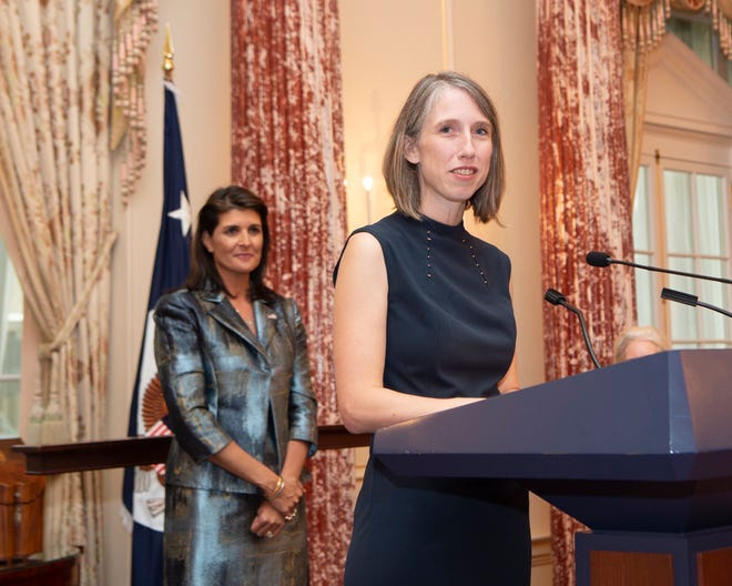 Cherith Norman Chalet, a New Jersey resident and graduate of Bob Jones University, was appointed the Representative of the United States of America to the United Nations for U.N. Management and Reform. She has the rank of ambassador and is listed as one of only three ambassadors under Nikki Haley, seen here in the background, during a swearing-in ceremony.