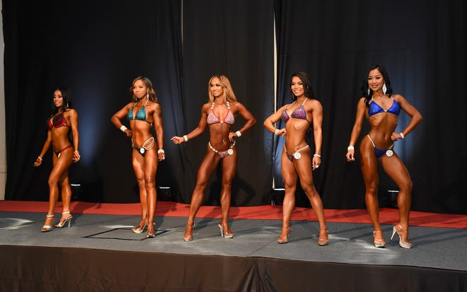 NPC Bikini competitors during the Michelob Ultra 2018 NPC Guam National Bodybuilding Championships at the Sheraton Laguna Resort Guam, Oct. 20, 2018.