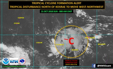 A disturbance in eastern Micronesia could affect Guam by midweek.