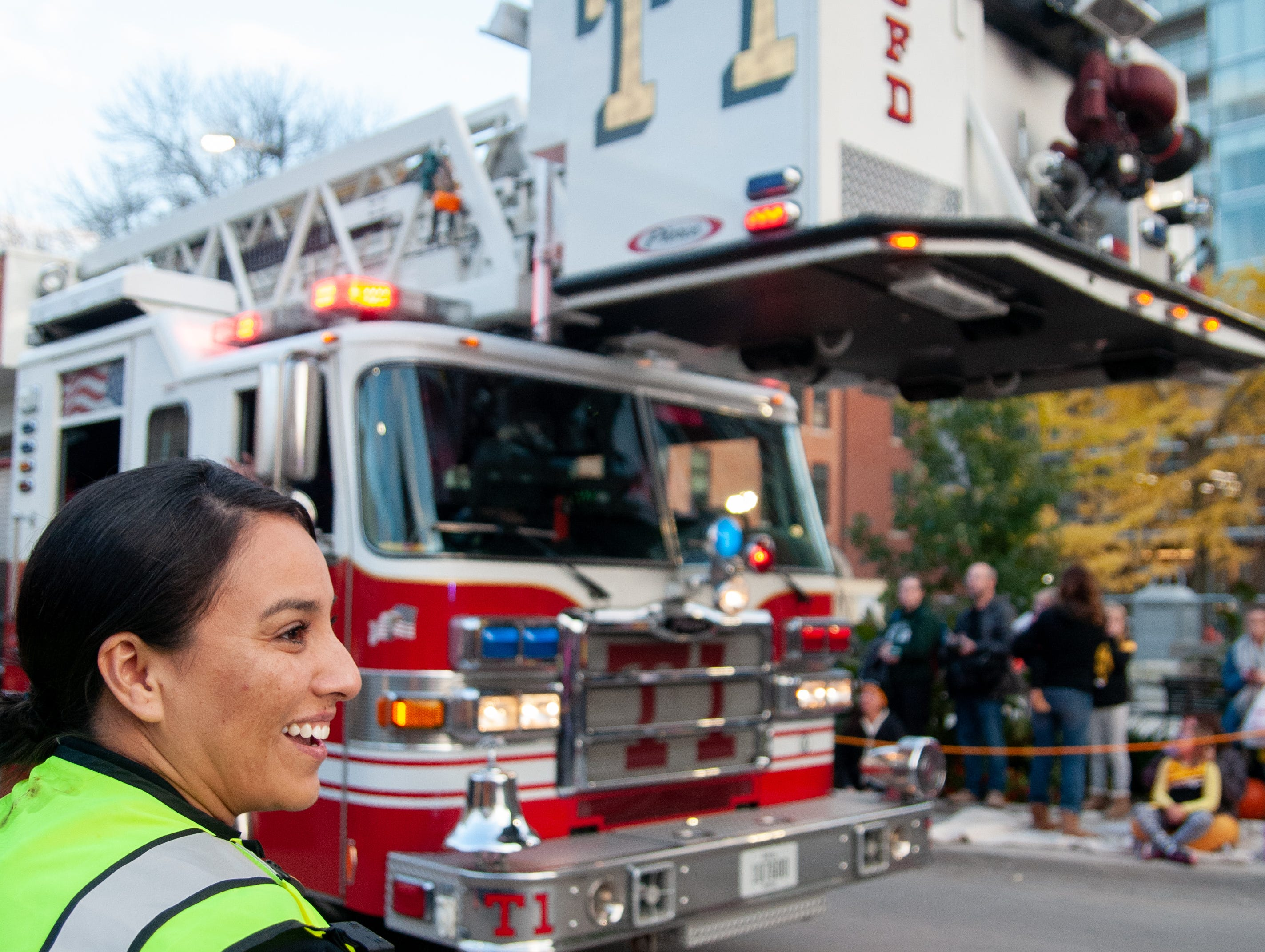 The Iowa City Fire Department leads the 2018 Homecoming parade, Friday, Oct. 19, 2018, in Iowa City.
