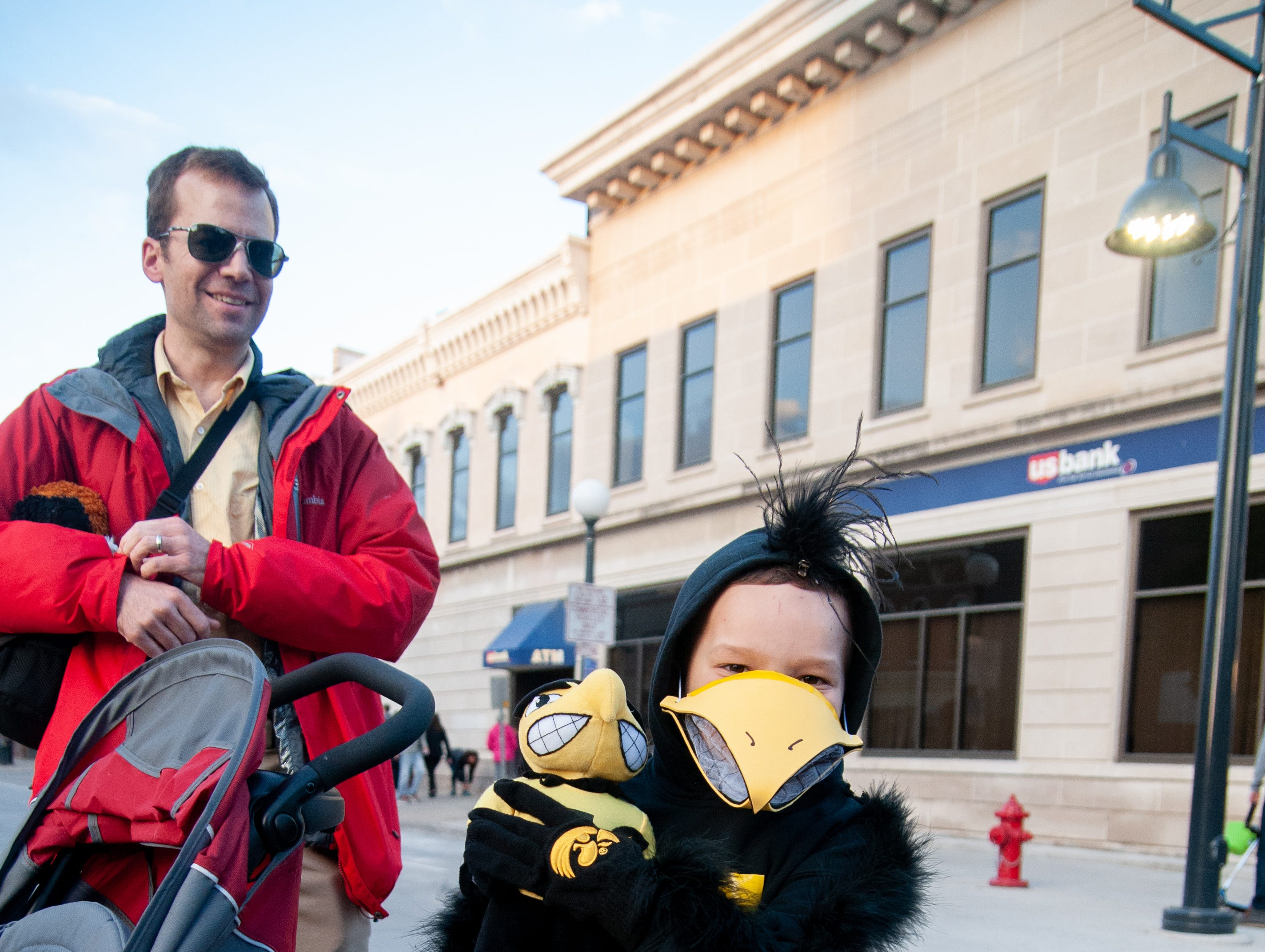 Isaac Penn, 6, dresses as Herky before the 2018 Homecoming parade, Friday, Oct. 19, 2018, in Iowa City.