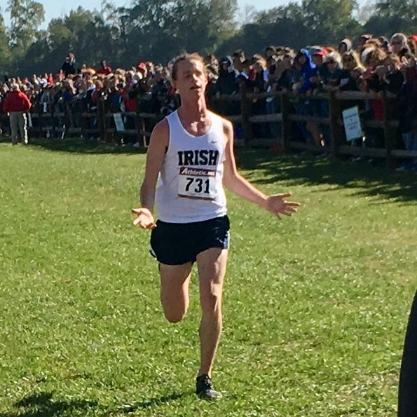 Cathedral's Cole Hocker crosses the finish line first in Saturday's IHSAA cross-country semistate at Shelbyville.