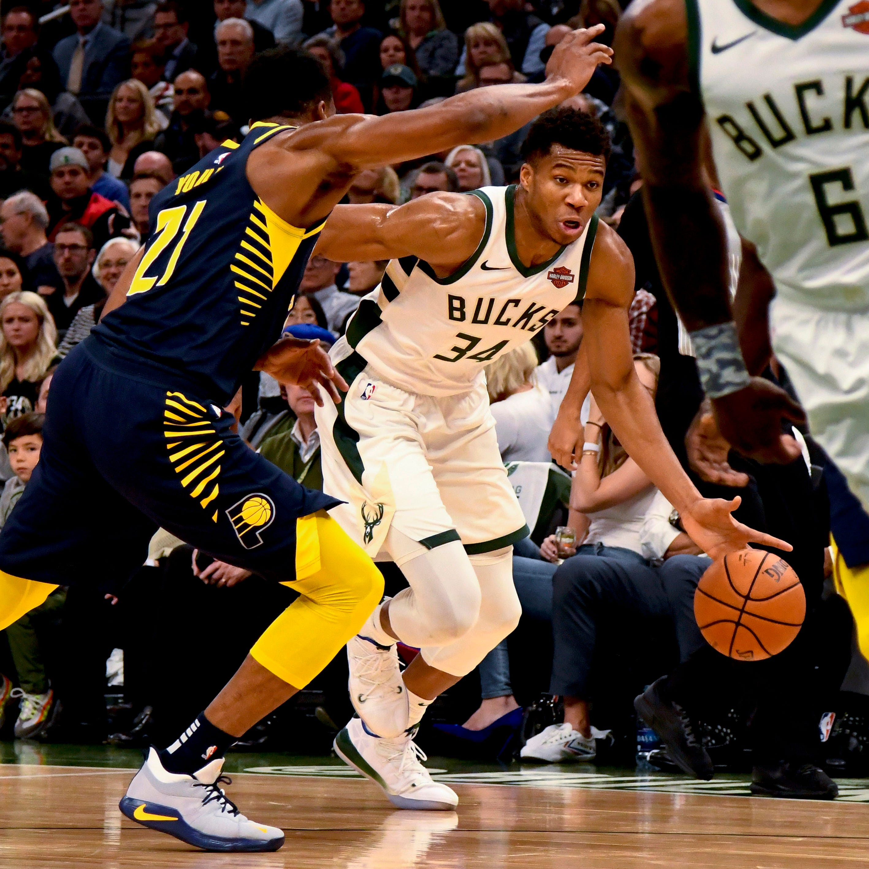 Pacers wilt under Bucks' 3-point barrage and unstoppable Giannis Antetokounmpo