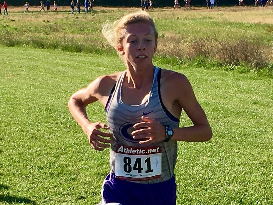 Greencastle's Emma Wilson won the girls race at the IHSAA cross-country semistate at Shelbyville on Saturday.