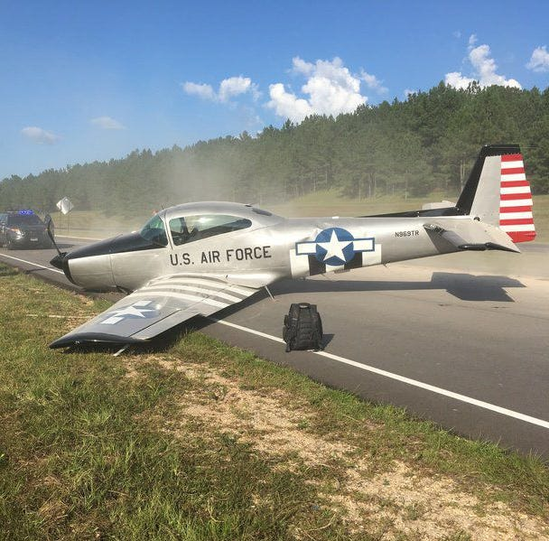 Emergency landing on Mississippi highway a close call for pilot, driver below