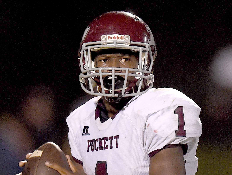 Puckett quarterback Ty'vez Tate (1) looks to throw deep against St. Joseph on Friday, October 19, 2018, at St. Joseph Catholic School in Madison, Miss.