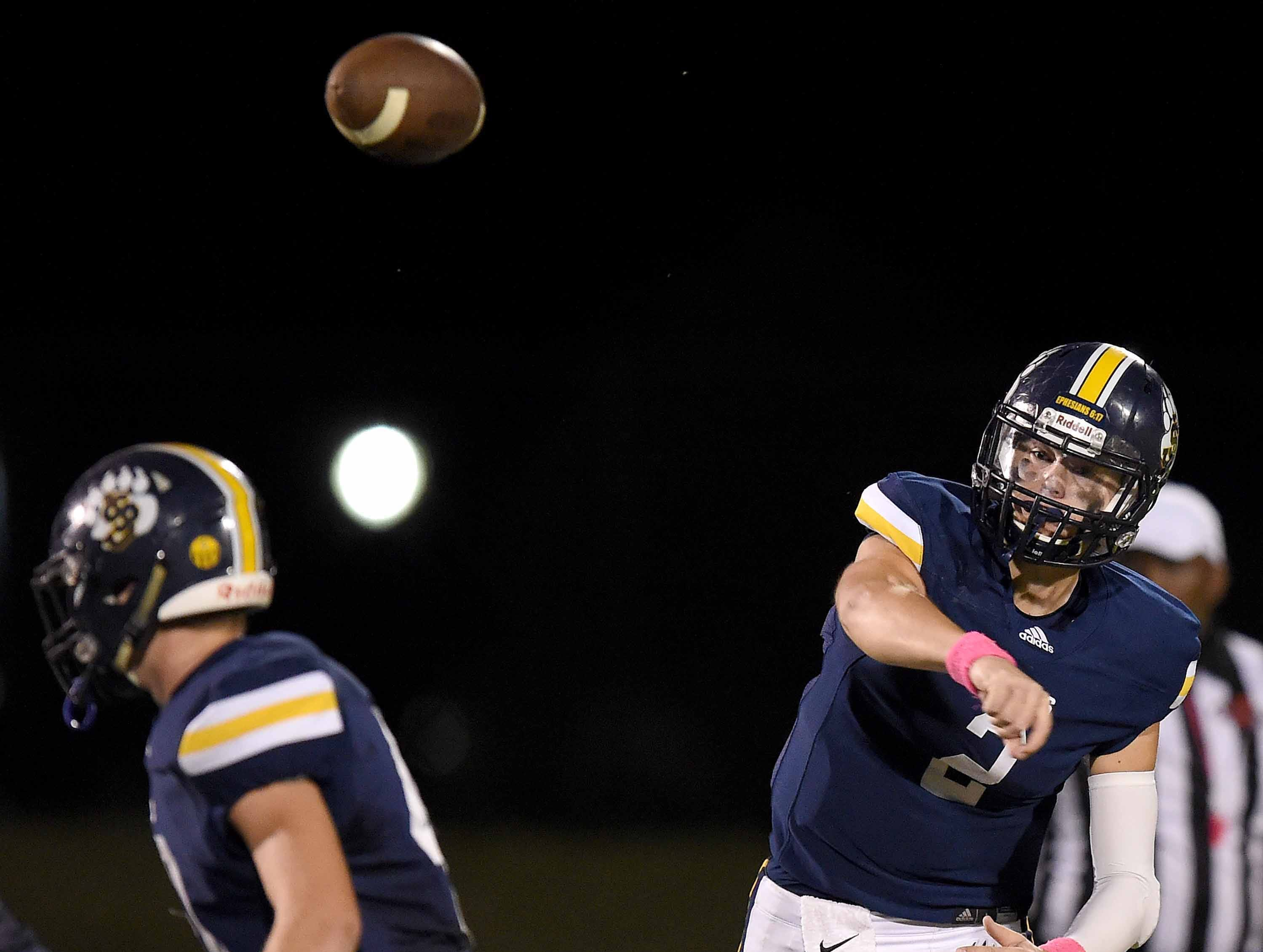 St. Joseph quarterback Daniel Clarke (2) throws over the middle against Puckett on Friday, October 19, 2018, at St. Joseph Catholic School in Madison, Miss.