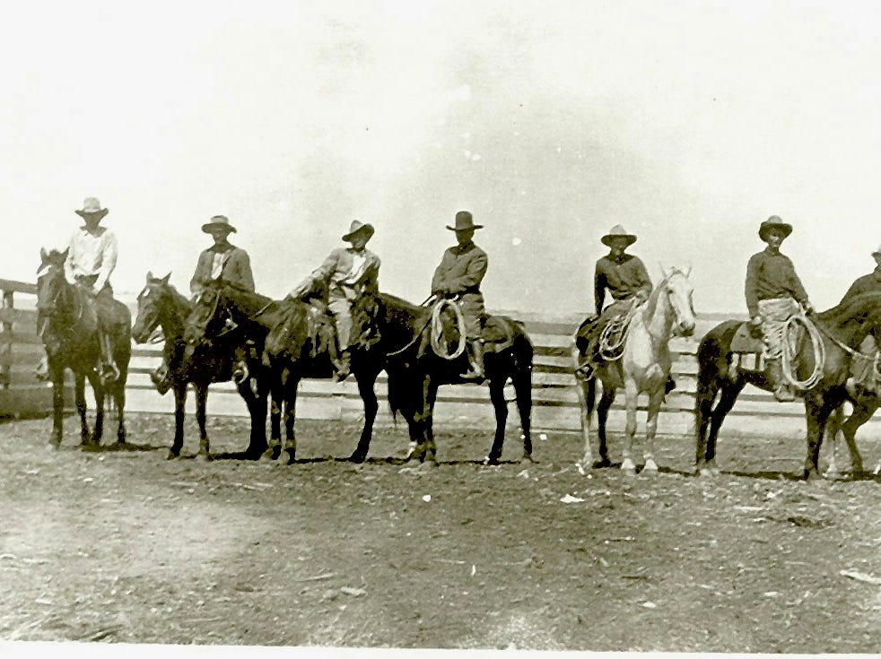This around 1910 photo provided by Francine Locke Bray shows Victor M. Locke, Sr., center, with unknown cowboys on Choctaw horses in Pushmataha County, Okla. An aging stallion found by accident on a Mississippi farm is bringing the first new blood in a century for a line of horses brought to America by Spanish conquistadors and bred by Choctaw Indians who were later forced out of their ancestral homelands. (Francine Locke Bray via AP)