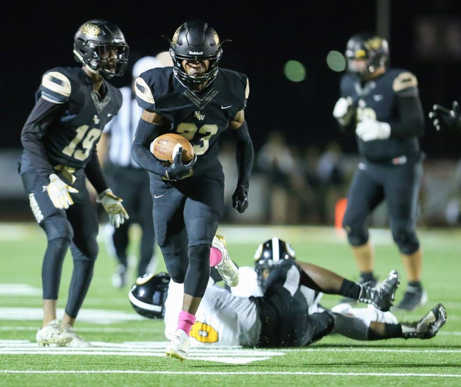Northwest Rankin's Dee Baker (23) breaks away for a touchdown. Northwest Rankin played Greenville in a Class 6A football game on Friday, October 19, 2018 at Northwest Rankin. Photo by Keith Warren