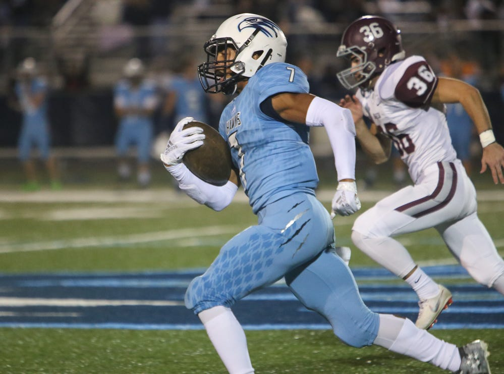 Hardin Valley's Kelton Gunn (7) runs 98 yards to score a touch down during the Hardin Valley versus Bearden high school football game at Hardin Valley in Knoxville Friday Oct. 19, 2018.