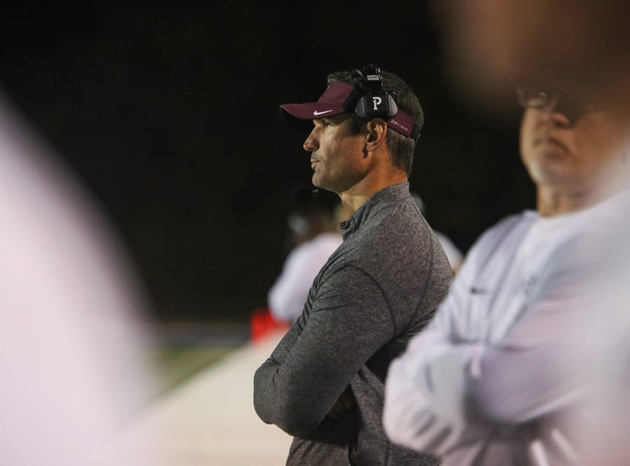 Bearden head coach Morgan Shinlever during the Hardin Valley versus Bearden high school football game at Hardin Valley in Knoxville Friday Oct. 19, 2018.