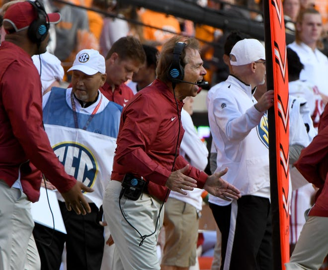 Alabama head coach Nick Saban during first-half action against Tennessee Saturday, October 20, 2018 at Neyland Stadium in Knoxville, Tenn.