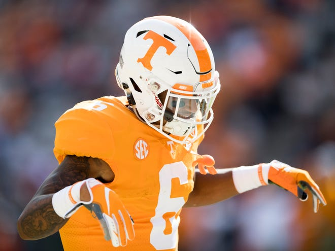 Tennessee defensive back Alontae Taylor (6) dances during warmups before the Tennessee Volunteers' game against Alabama in Neyland Stadium on Saturday, October 20, 2018.
